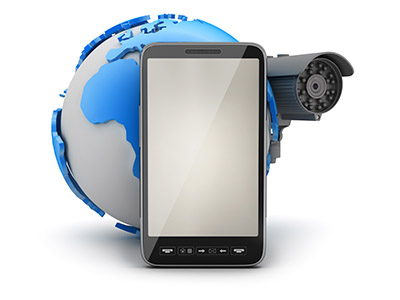 Video surveillance camera, mobile phone and earth globe